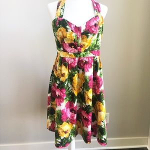 London Times Strapless Floral Dress Size 14